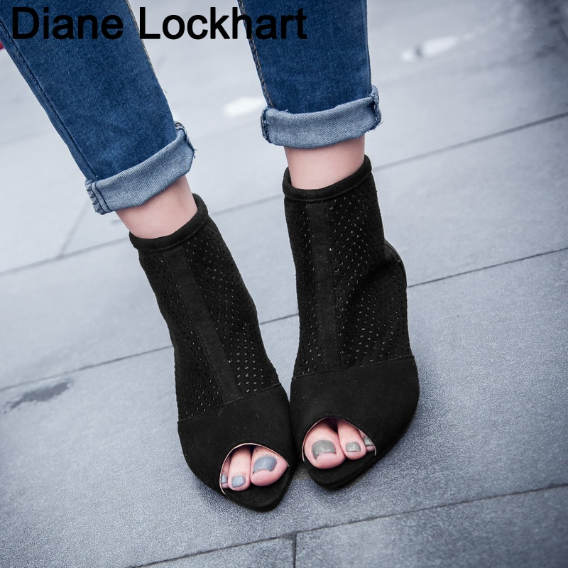 Zapatos Retro de tacón bajo con puntera descubierta para mujer, botines huecos con tacón fino, bota femenina de verano para mujer, cremallera romana, botas de mujer talla 32-43