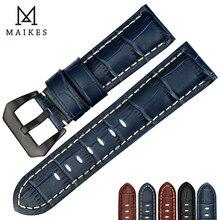 Ремешок для часов MAIKES, из натуральной кожи высокого качества, 22 мм, 24 мм, 26 мм, модные синие аксессуары для часов, ремешок для часов Panerai