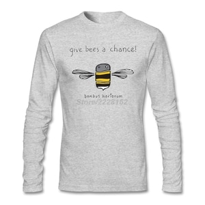 Men Loose Daily Wear Tee Shirts on Sale Long Sleeved T Shirt Boutique Give Me a Chance T with Honey Bees Men 100% Cotton O Neck