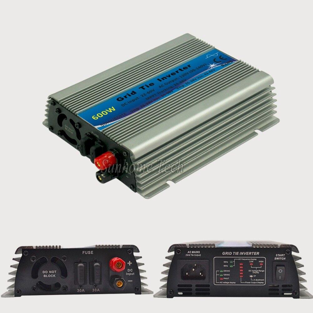 عاكس للطاقة الشمسية بموجة جيبية نقية 600 وات ، محول طاقة بموجة جيبية نقية مع وظيفة mppt ، إدخال 22-60V DC ، خرج 120/230V AC ، CE