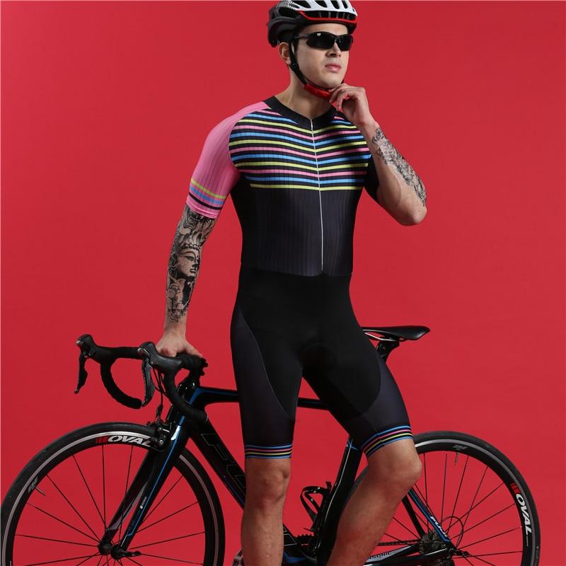 2019 summer swimwear men short sleeve cycling skinsuit BOESTALK pink sexy triathlon suit uniforme ciclismo high quality uniforme
