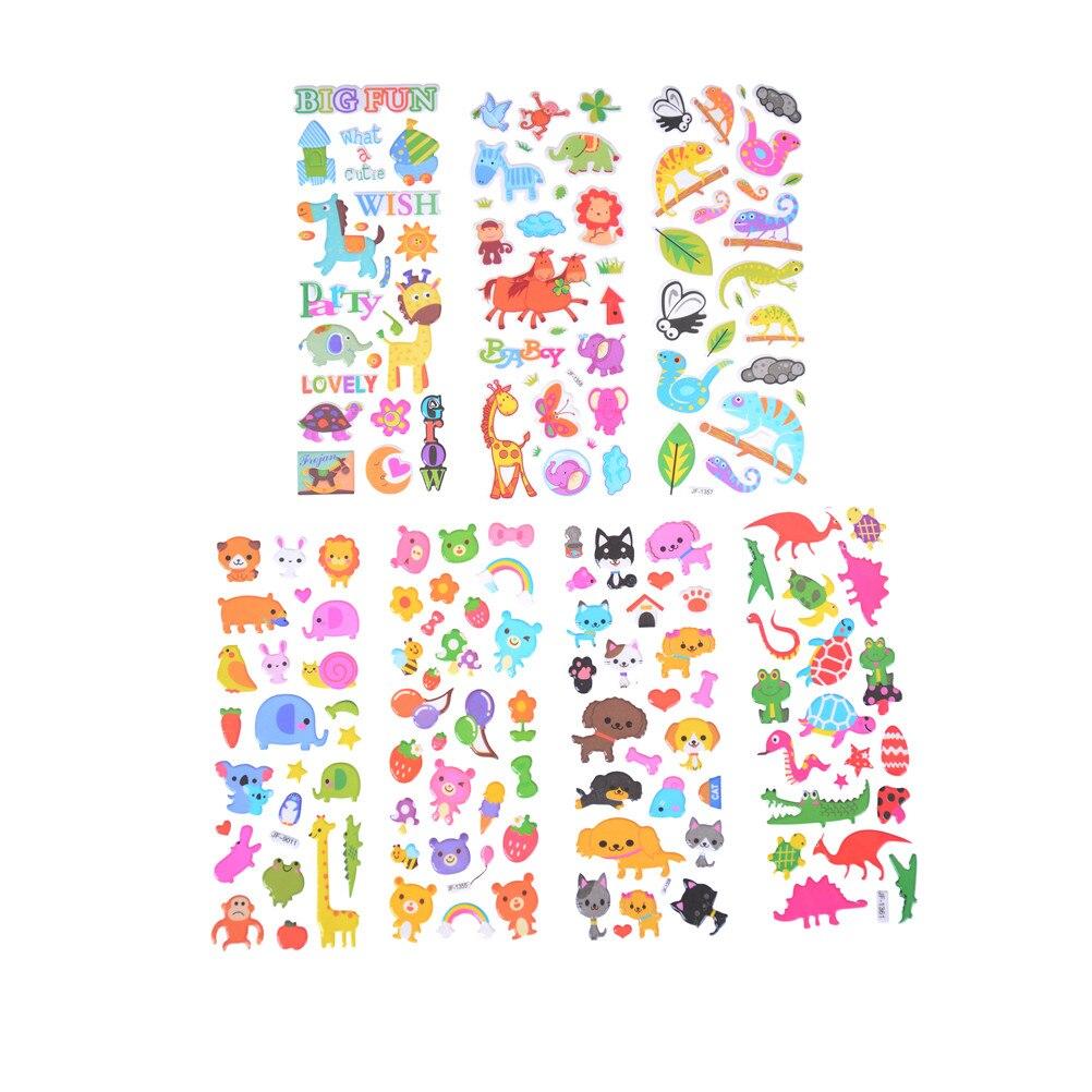 Pegatinas 3D para niños y niñas, 6 unidades por lote, pegatinas de PVC, pegatinas de burbujas, marca de moda, juguetes dibujos niños, animales bonitos, Zoo