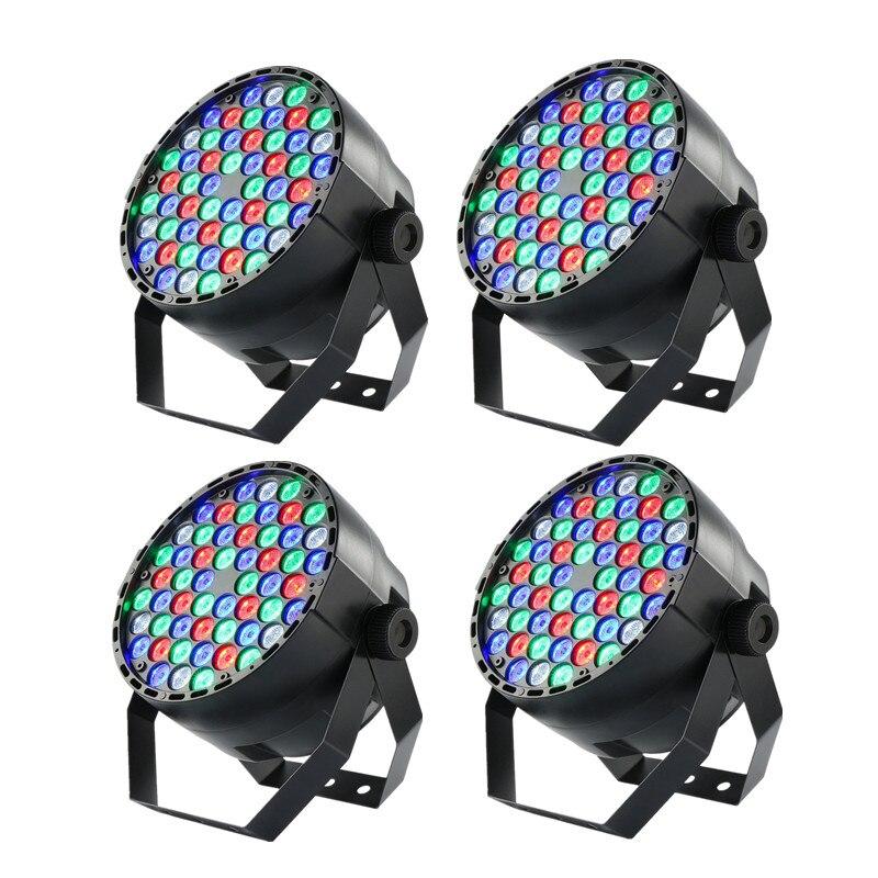 4 Uds nuevo plano par puede 54 LEDs lámpara par rgbw boda discoteca parte escenario lavado par Luz