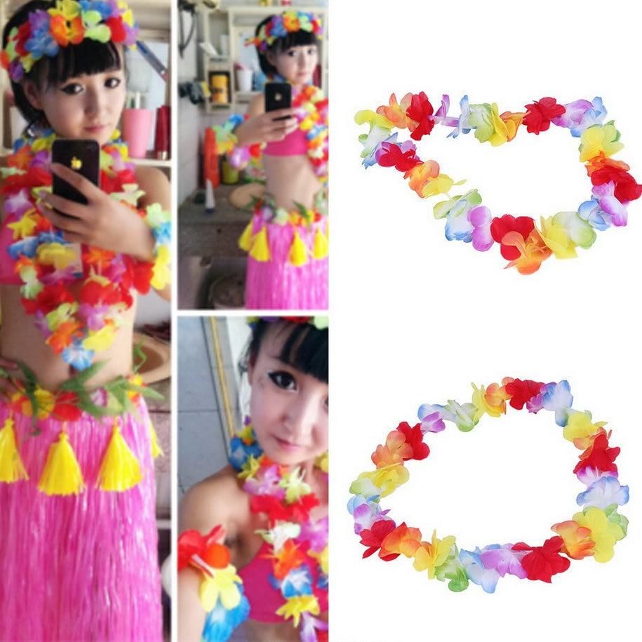 1pc colorido flor guirlandas havaiano/tropical festa fantasia vestido colar circunferência 96cm 2017 nova chegada guirlandas colar