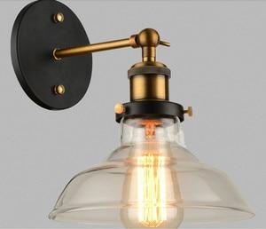 Vintage glass wall light iron Retro wall lamp E27 110V 220V swing arm wall lamp adjustable bedroom living dinning room wall lamp