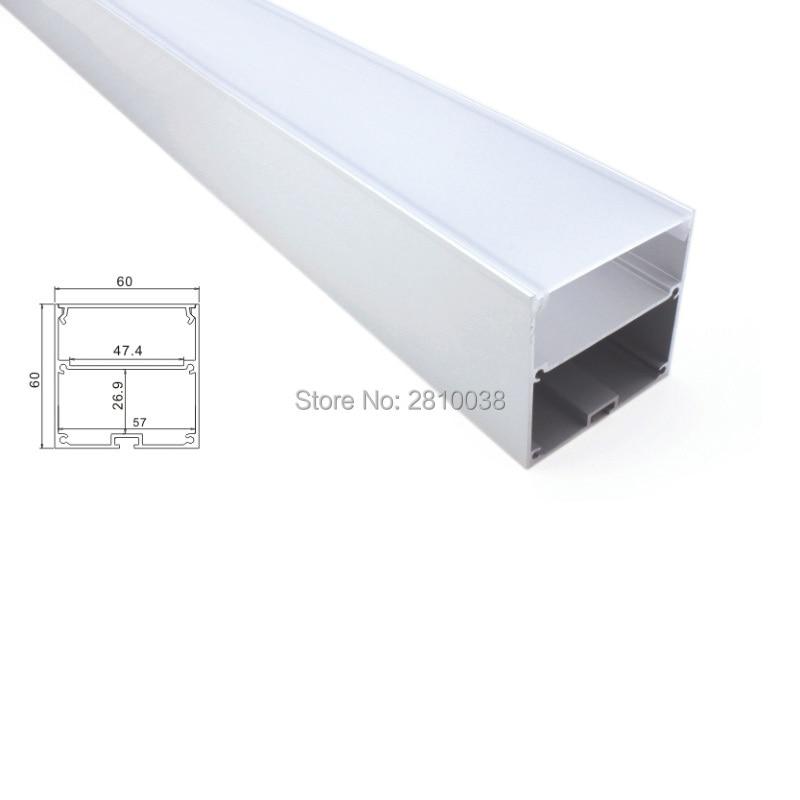 30 conjuntos de 2 M/lote 6000 series led Perfil de luz gran carcasa de canal led de aluminio de tipo cuadrado para la suspensión de la luz