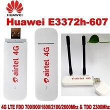 Unlocked Huawei E3372 E3372h-607 4G LTE 150 Mbps USB Modem USB Dongle Destek Tüm Bant + 2 adet CRC 4G Anten