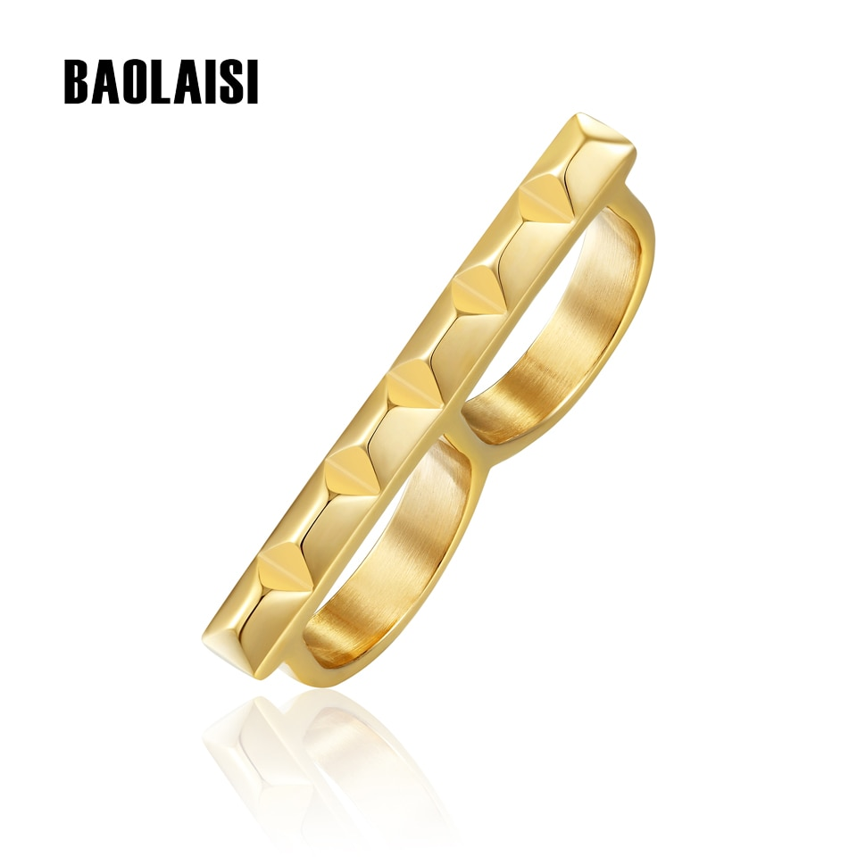 BAOLAISI, 2017, nuevos anillos para mujer, anillo geométrico de doble círculo, puede tomar dos dedos, joyería de moda Rock, anillos de fiesta