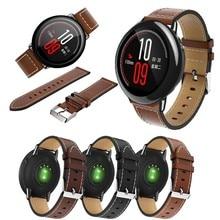 Pour Original Xiaomi Huami Amazfit rythme Bracelet de montre en cuir véritable remplacement Bracelet de montre intelligente pour Amazfit GTR 47MM Bracelet