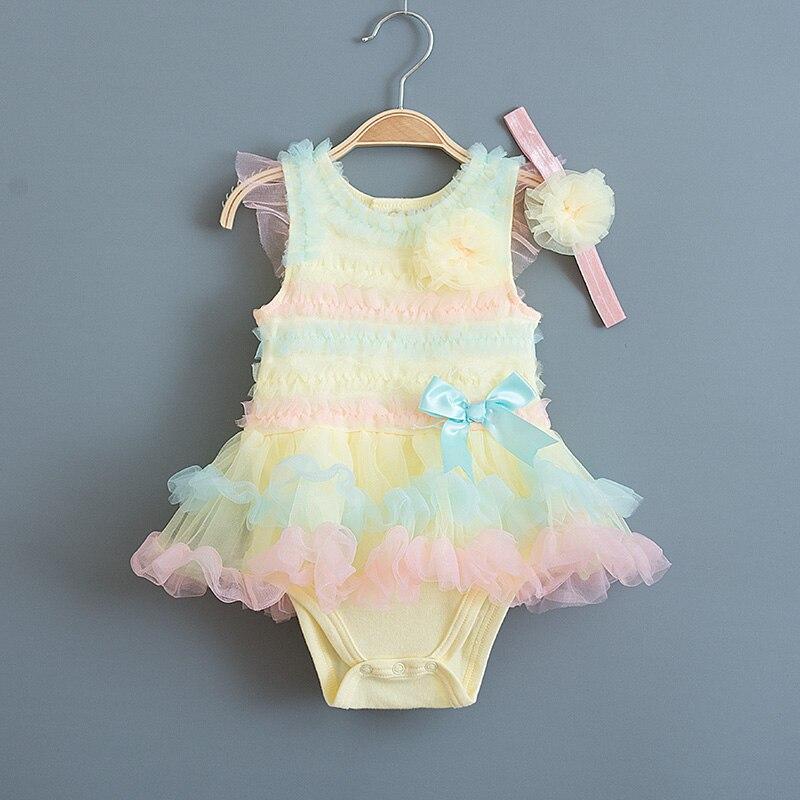 Vestido de rayas multicolor para niña, Vestido de verano de encaje para niños, bautismo, cumpleaños, ropa de princesa para niñas, Vestido infantil