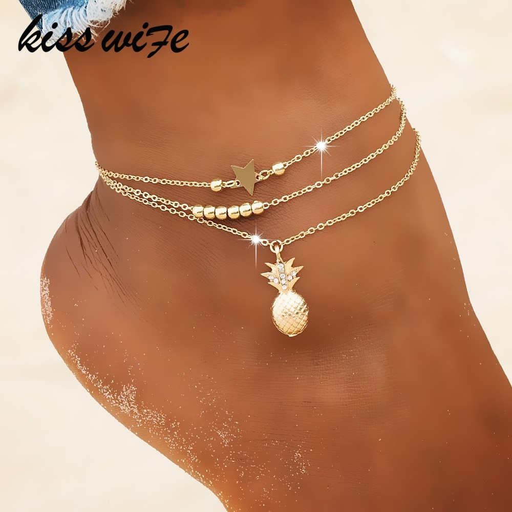 KISSWIFE цепочка на лодыжку ананас кулон браслет из бисера 2018 Лето пляжная стопа ювелирные изделия модный стиль ножные браслеты для женщин