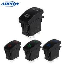 ADPOW 5pin Laser Push Button Rocker Toggle Switch LED Bar Light Waterproof Auto Led Light Bar Rocker Switch  12V