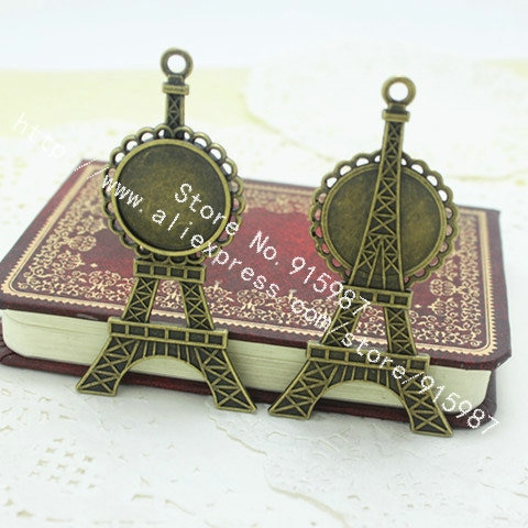 10 Uds. Torre Eiffel de aleación de bronce antiguo 36*69mm (ajuste 20mm) redondo engastes para colgante de cabujón joyería colgante espacios en blanco 7E1252
