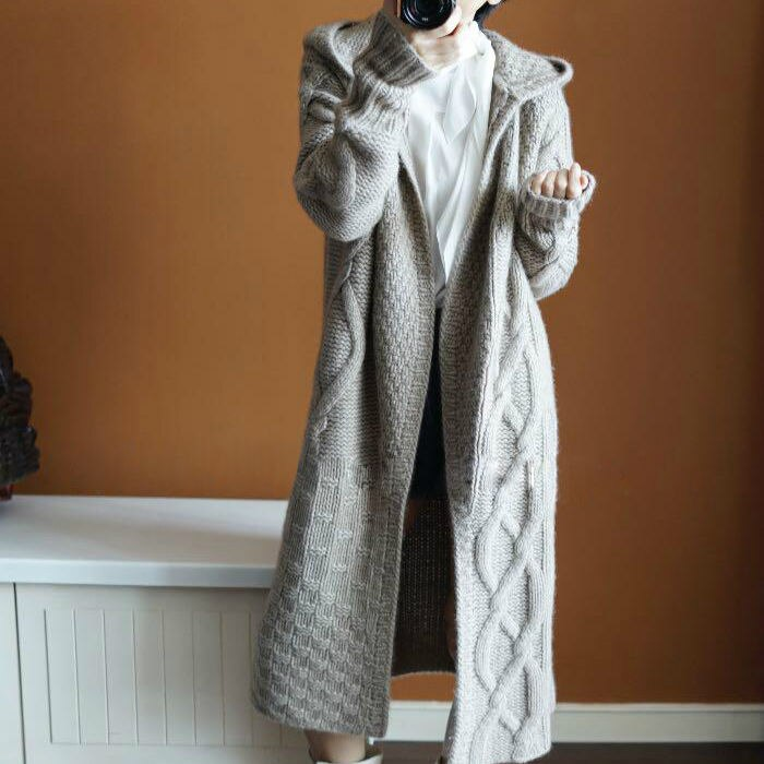 2020 Cardigan Women Solid Real Promotion Full Poncho Autumn And Winter Loose Hooded Long Thick Cashmere Female Coat Overcoat enlarge