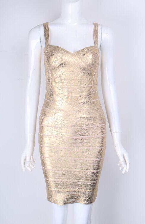 Femmes Sexy sangle Mini Brozing argent or rayonne robe de Bandage 2016 dames charmante moulante robe de Bandage