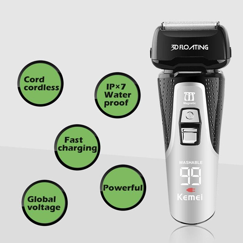 Afeitadora eléctrica kemei 3D de 100-240V, afeitadora impermeable para hombres, afeitadora recargable, afeitadora de barba flotante