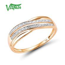 VISTOSO 14 Genuíno 585 K Ouro Rosa Chic Anéis Para Lady Diamante Sparkling Engagement Anniversary Estilo Simples Eterna Jóias Finas