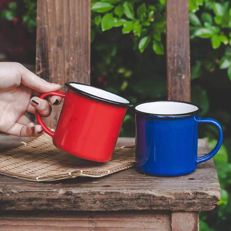 Taza para té y café, taza de café con esmalte Taza de té esmaltada clásico nostálgico creativo, tazas de té, taza de desayuno con revestimiento impreso para la leche del vientre