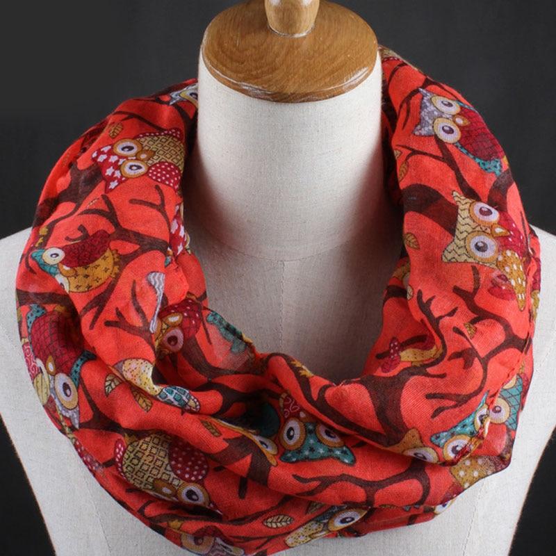Bufandas de chal con estampado de búho Vintage para mujer