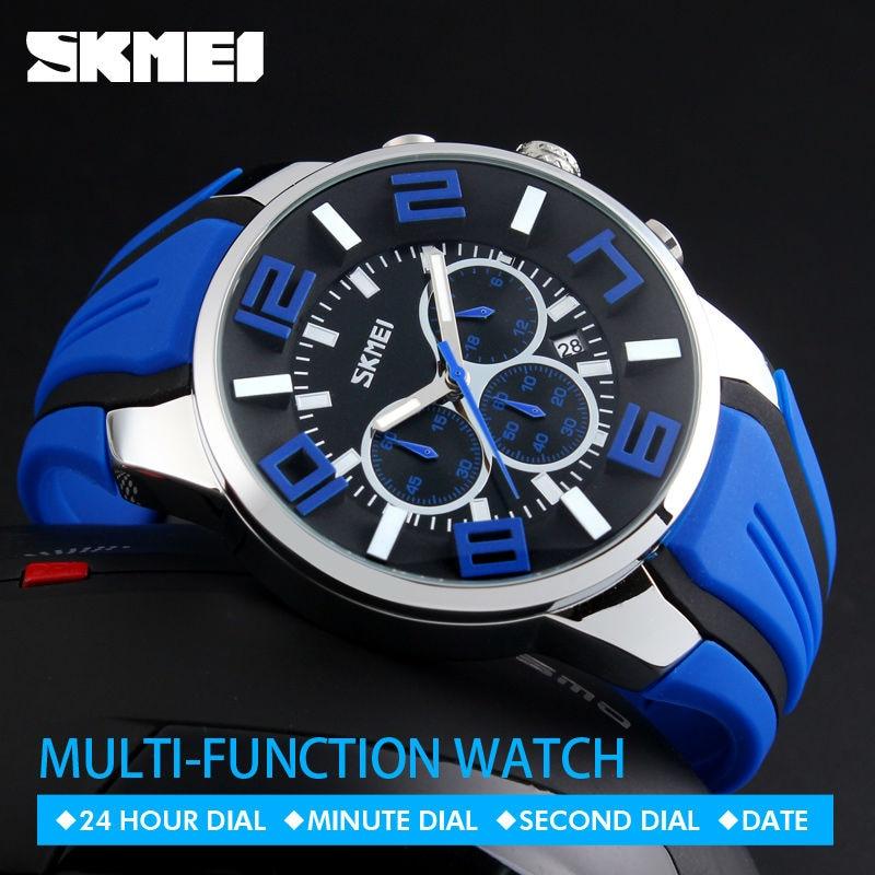 SKMEI 9128 Men Quartz Wristwatches Fashion Sport Stop Watch Auto Date 30M Waterproof Clocks Relogio Masculino Male Brand Watches