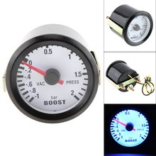 "6031BL Boost ölçer 2 ""52mm 12V DC mavi LED -1 ~ 2 Bar Turbo Boost ölçer ölçer sensörü ile araba/tekne/kamyon/ATV"