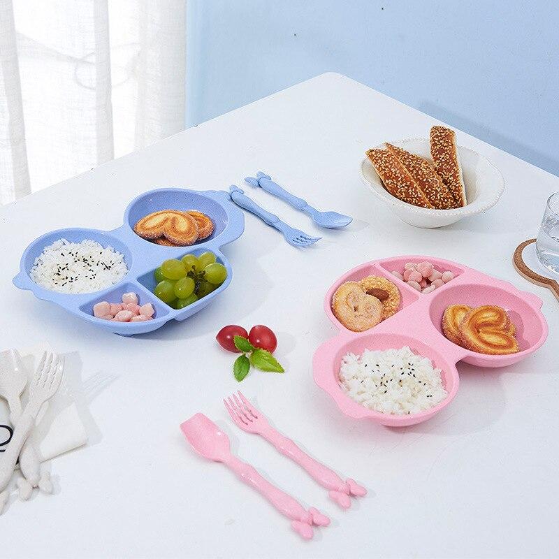 Set de 3 platos Rosiky para niños, platos para niños, vajilla paja trigo, juego de tazón de fuente de alimentación bebé