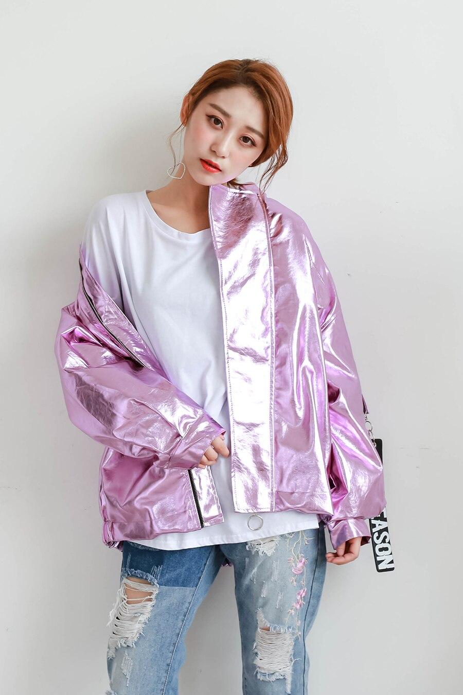 Spring Autumn Metal Bomber Jacket Pink Silver Hologram Parka Coat Punk Hip Hop Loosen Casual Women Men Outwear Chaqueta Mujer