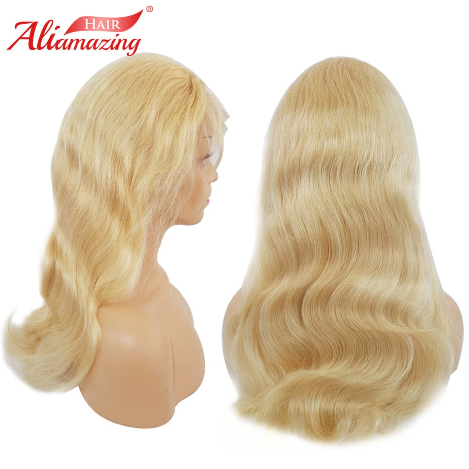 Ali Amazing Hair #613 Blonde Lace Frontal Human Hair Wigs Pre Plucked Remy Body Wave Brazilian Frontal Hair Wigs 350% Density
