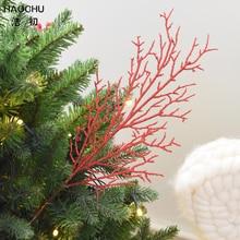 HAOCHU-Branches de corail rouge 5 pièces   Fleurs artificielles pour arbre de noël, ornement de goutte pour maison mariage, faveurs de fête