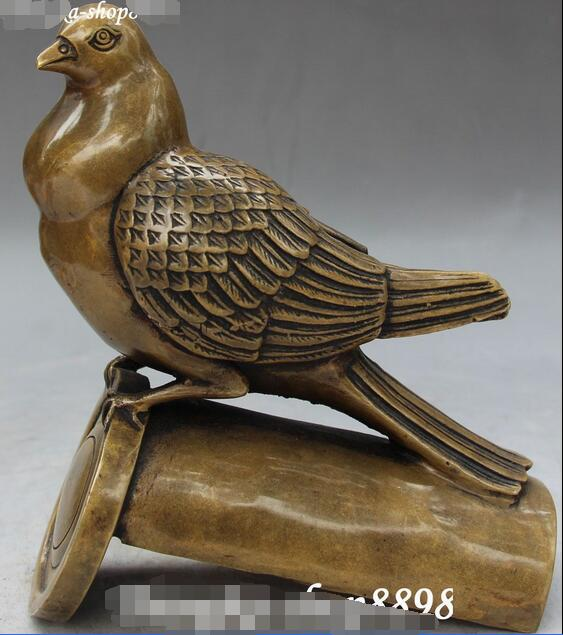 Bronce chino Tallado De Bambú Pájaro Paloma Palomas Palomas Paloma de La Paz Estatua Animal