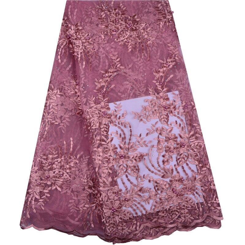 5 metros/Lote de Alta Qualidade da Nigéria Tecido de Renda Francesa Bordado de Renda de Tule Para Vestido de Noiva 2018 Laço de Tecido Africano 1319
