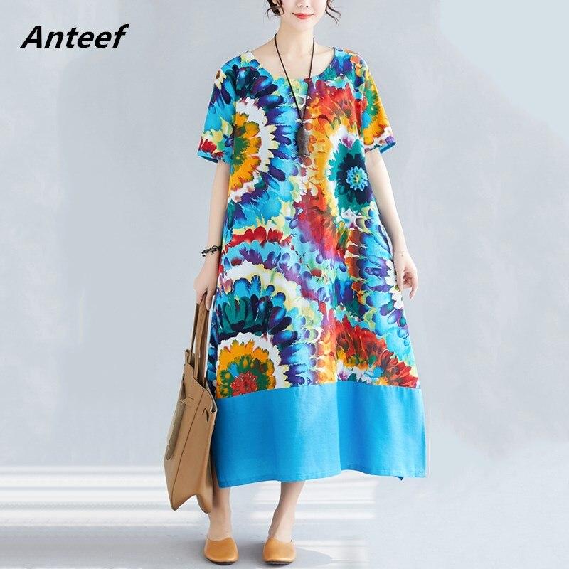 Algodão linho vintage floral impressão plus size feminino casual solto longo verão vestido elegante roupas 2019 senhoras vestidos de verão