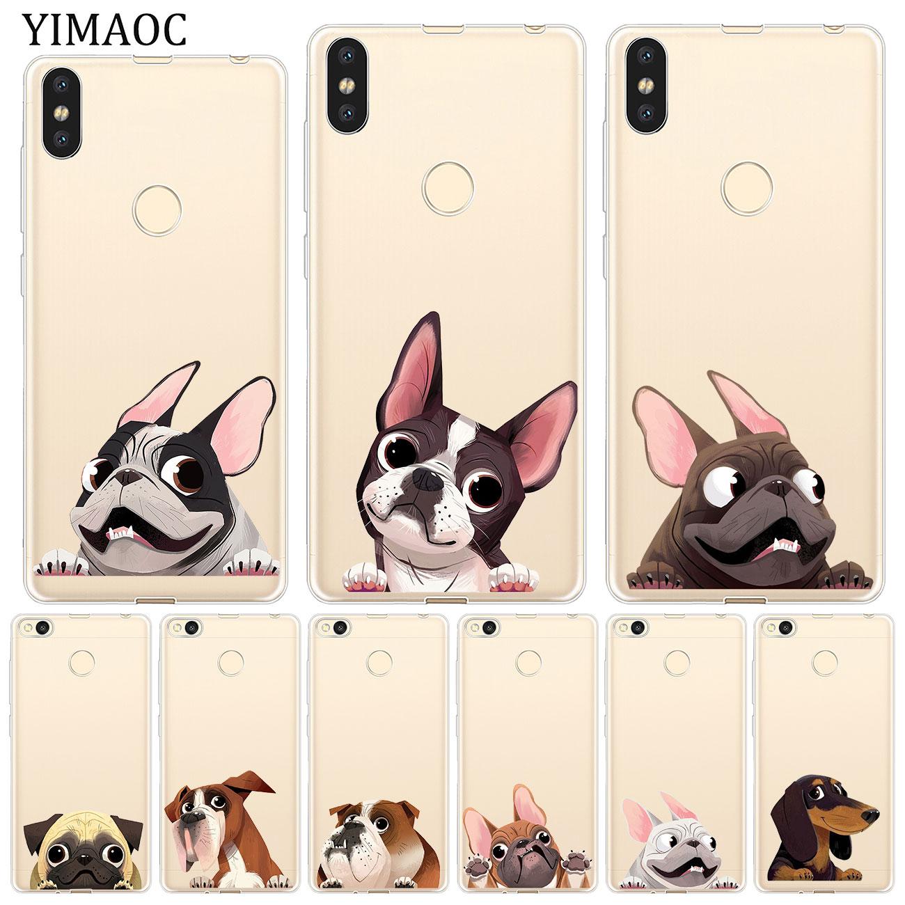 YIMAOC Cute Pug Dog Cartoon  Bulldog Soft Case for Xiaomi Redmi K20 8A 7A 6A 5A 4A 4X S2 GO Note 8 7 6 5 Pro Plus 4 Cover