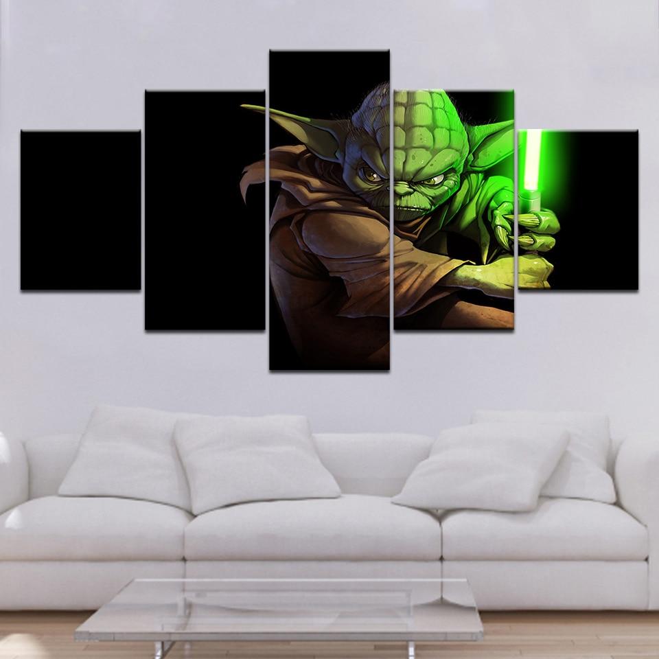Decoración del hogar pinturas en lienzo 5 piezas/pcs HD impreso Star Wars maestro Yoda Modular Vintage cuadros arte de la pared para la vida habitación