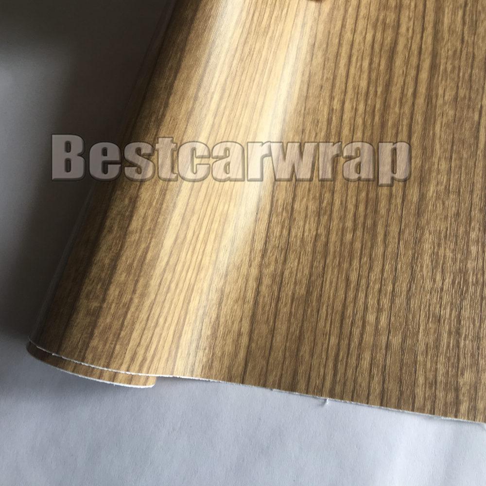 Grano de madera teca acabado falso texturizado vinilo revestimiento recorativo de coche película de papel DIY No Mess Air-release PROTWRAPS 1.52X20M