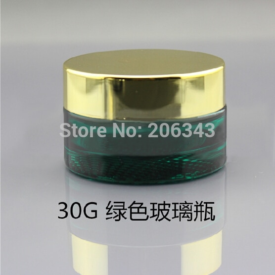 30G transparent/green glass bottle/jar with shiny gold/silver lid for cream/serum/gel/essence/moisturizer/skin care packing