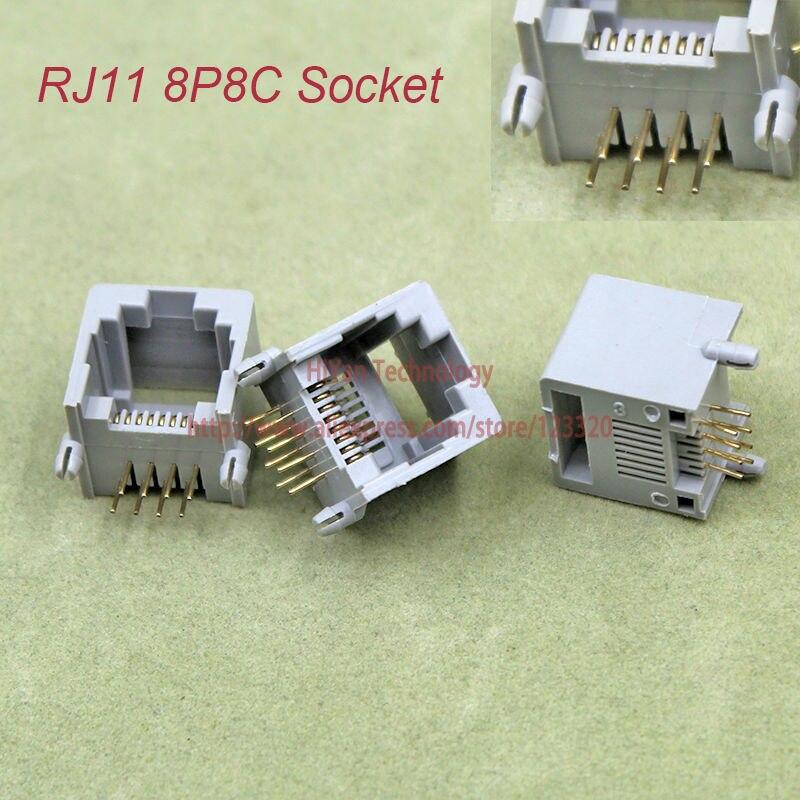 (50 unids/lote) RJ11 8P8C red modular jack hembra de 8 pines de 90 grados curva aguja tipo soldado
