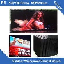 Pantalla led para exteriores TEEHO, 6 unids/lote, P5, gabinete impermeable, 640mm x 640mm, panel publicitario para vídeo 8S