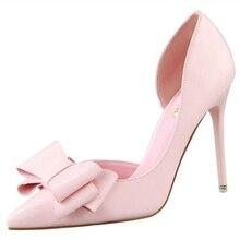 D & Henlu marque femmes chaussures mode PU femmes pompes Superstar Style talons hauts chaussures femme doux noeud papillon chaussures de fête femmes Stiletto