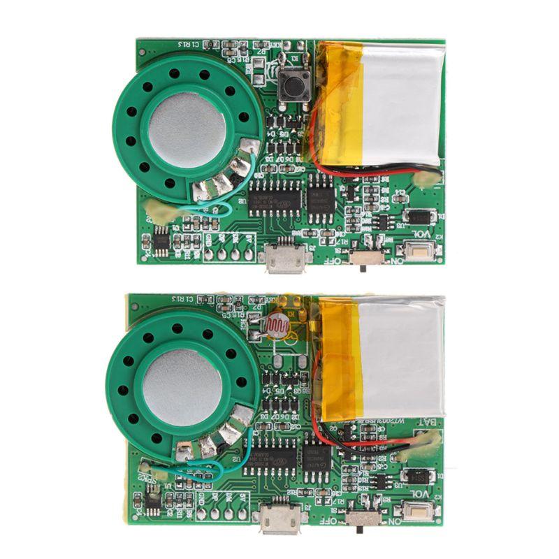 Módulo de circuito de reproducción de sonido MP3 con Sensor de luz sensible para tarjeta de felicitación con altavoz batería de litio descarga USB