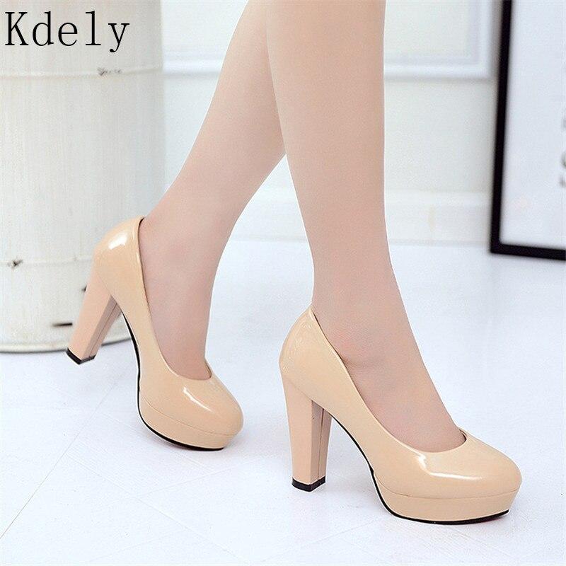 Zapatos de tacón alto de charol clásico a la moda para mujer, zapatos Nude con cabeza afilada, zapatos de vestir de boda para mujer, zapatos de talla grande 34-42
