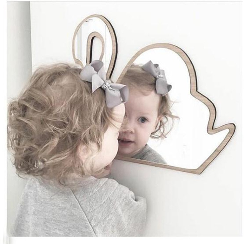Espejo mural acrílico inastillable para decoración de habitación de chico o cuarto de niños, corona de conejo, corazón, mariposa, nube, jardín, decoración artística con espejo para pared