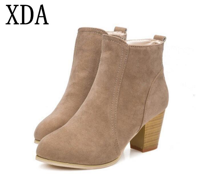 XDA/Новинка 2018 года; сезон осень-зима; полусапожки на высоком каблуке; Ботинки Martin; женские ботильоны на толстой молнии