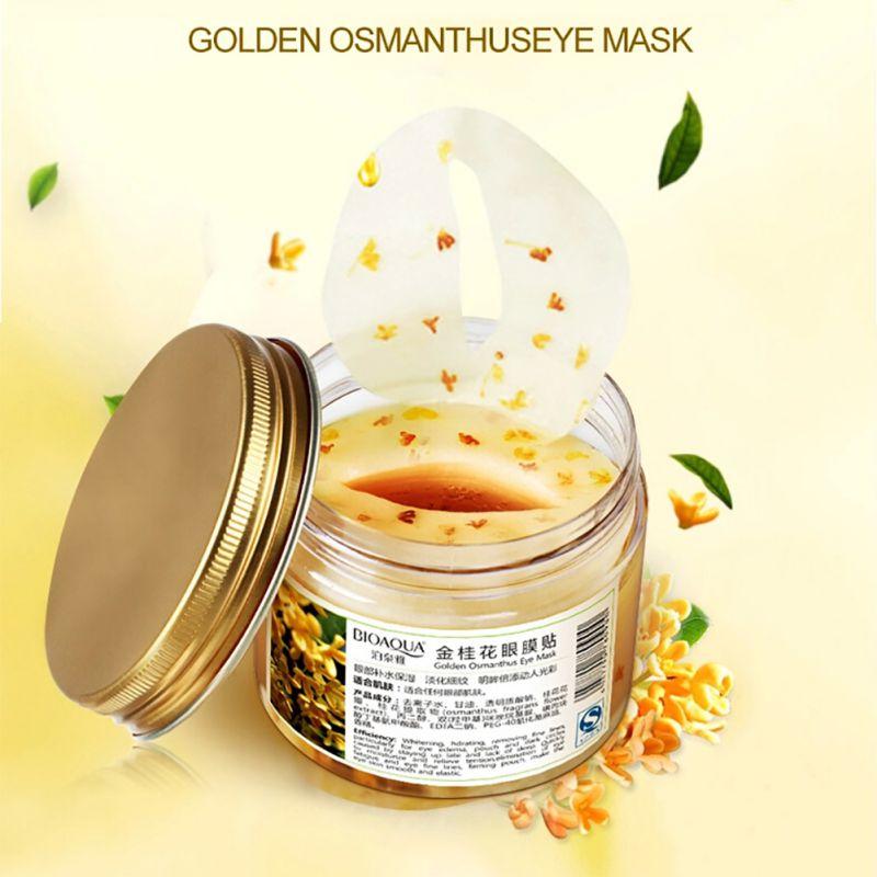 80 Pcs/Garrafa Osmanthus Ouro Olho Máscara de Gel de Colágeno Proteína de Soro de leite Cuidados Com o Rosto Patches Saúde do Sono Máscara de Olho