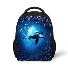 Mavi Mini Çocuklar Hayvan Köpekbalığı Sırt Çantası Şık Yunus Baskı Öğrenci Okul Çantaları Okul Öncesi Çocuk Bebek Anaokulu Kitap Çantaları