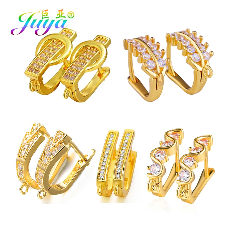 Juya pendiente DIY ganchos suministros Color oro/plata Leverback Schwenzy Bails accesorios para las mujeres creativa Fabricación de pendientes