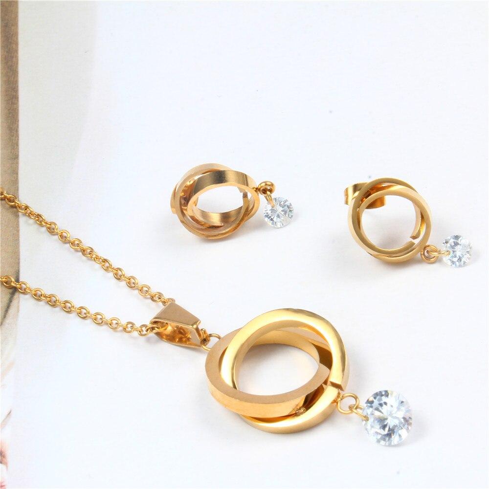 Oufei aço inoxidável fashio conjuntos de jóias de noiva jóias femininas conjunto de jóias de dubai schmuck africano conjunto de jóias de ouro