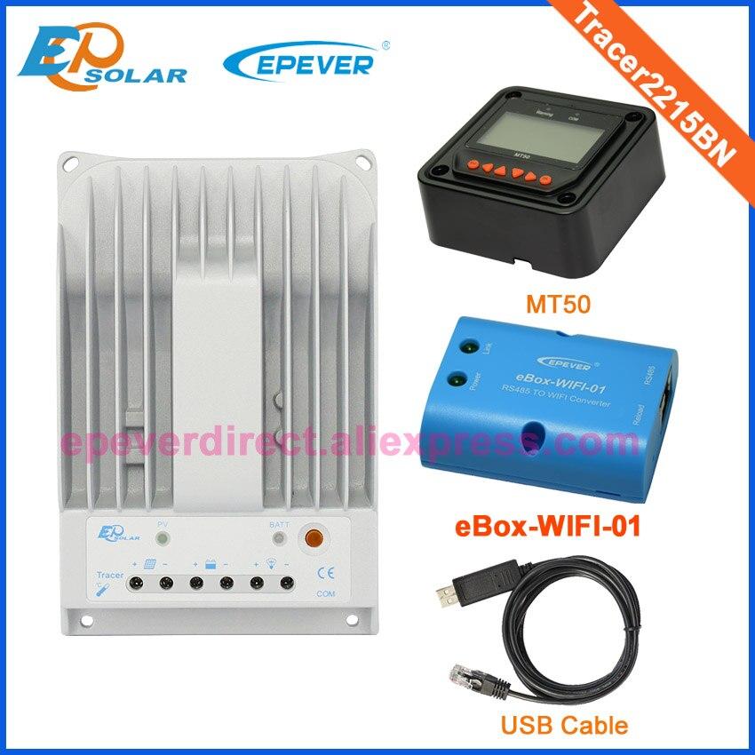 Batería de sistema de paneles solares para el hogar, 12V 24V, Tracer2215BN MT50 + funcionamiento automático, caja wifi y cable USB, PC conectar 20a 20 amperios