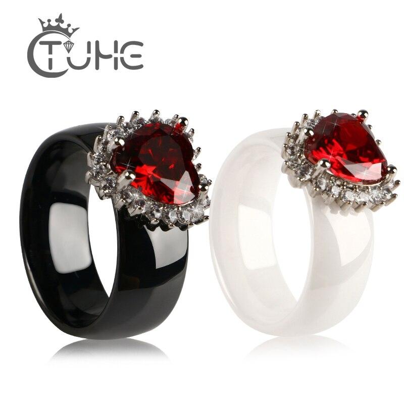 Anillos De Lujo Grandes de color rojo con diamantes de imitación de corazón para mujer, anillos de circonia cúbica de 2 ct, anillo bijoux de mujer, anillo exquisito de compromiso para bodas, joyería