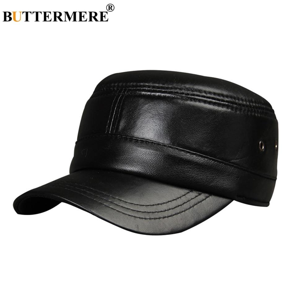 BUTTERMERE hombres sombrero militar negro cuero genuino boina plana masculina Vintage ajustable ejército Cap Ivy Casual otoño sombrero de capitán